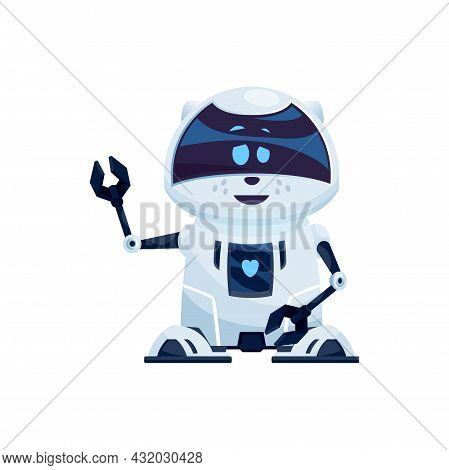 Realistic Robot With Friendly Face And Pincers On Arms Isolated Plastic Hi-tech Character. Vector An