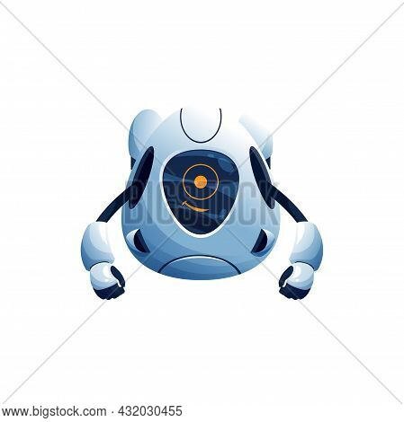 Electronic Humanoid Isolated Robot Without Legs Realistic Icon.vector Automation Character With Flex