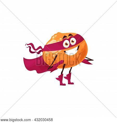 Tangerine Fruit Superhero Cartoon Character, Vector Tropical Fruit In Super Hero Costume And Mask. C