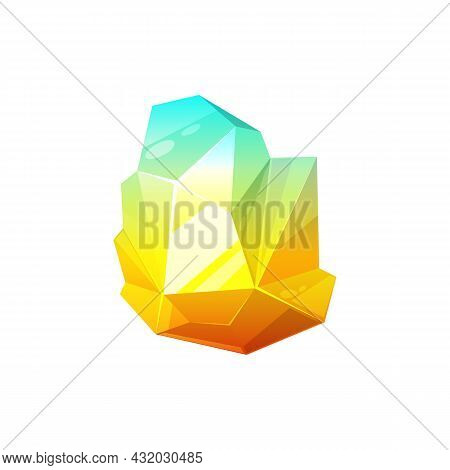 Color Magic Crystal Ui Game Treasure Element Isolated Mineral Crystal. Vector Amethyst, Topaz, Orang