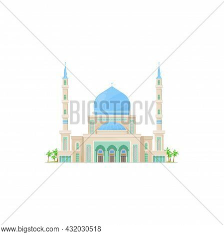 Muslim Mosque With Dome Top Isolated Islamic Religion Building. Vector Arab Religion Architecture, S