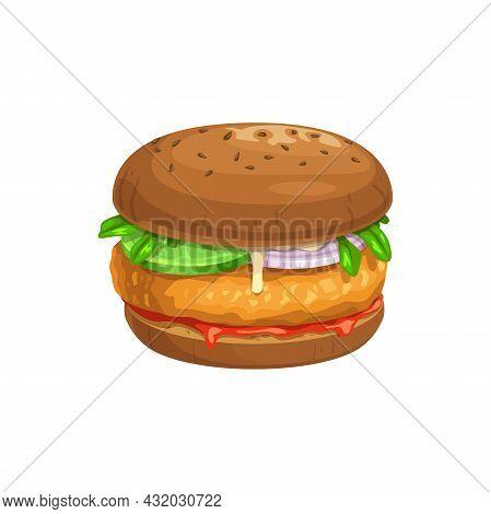 Chicken Burger Or Chickenburger, Fast Food Vector Menu Icon, Sandwich And Snack. Fastfood Restaurant