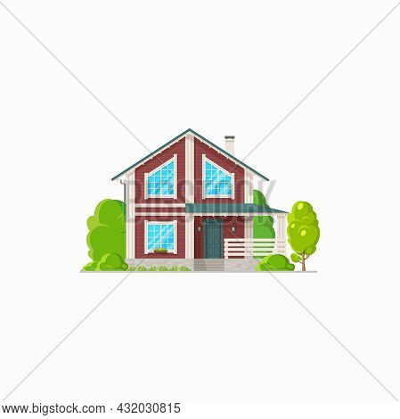 Modern Country House With Glass Panoramic Windows And Porch Isolated Realistic Icon. Vector Stylish