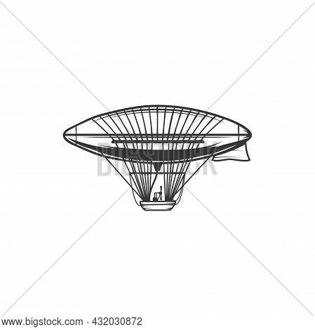 Zeppelin Or Dirigible Vector Icon, Airship Blimp Monochrome Emblem, Flying Vintage Balloon. Historic