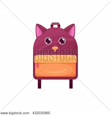 Baby Schoolbag Isolated Vector Icon, Cute Rucksack With Cat Or Dog Muzzle And Ears. Cartoon Kids Bac