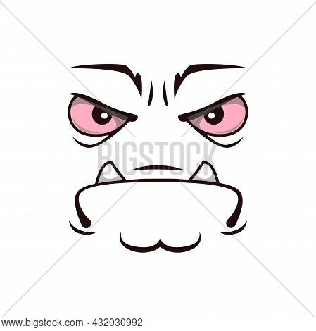 Monster Face Cartoon Vector Icon, Grumpy Creature, Sad Emotion With Frowned Eyes And Mouth With Prot