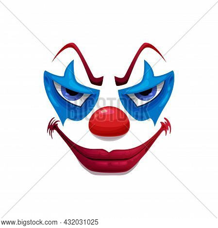 Creepy Clown Face Vector Icon, Smiling Funster Mask With Makeup, Red Nose, Lips And Angry Eyes. Scar