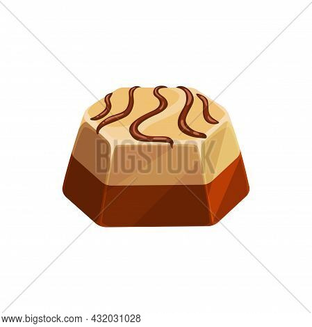 Chocolate Candy, Sweet Dessert, Vector Choco Candy Made Of Dark And White Chocolate Layers With Pral