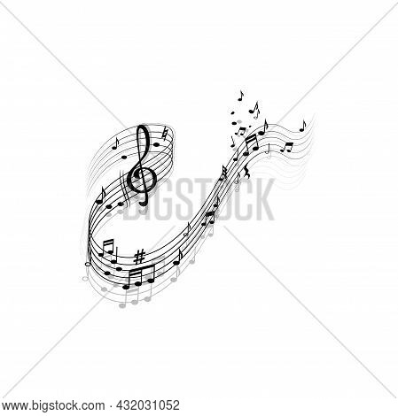 Song Composing Lines, Melody Elements Treble Clef And Notes Isolated Icon With Reflection Shadows. V