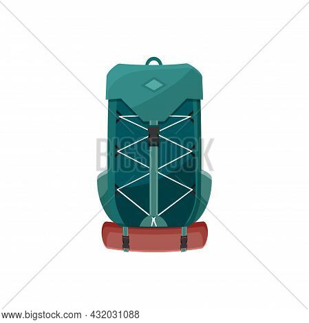 Backpack Vector Icon, Camping Or Hiking Rucksack, Cartoon Touristic Green Knapsack With Lacing And M