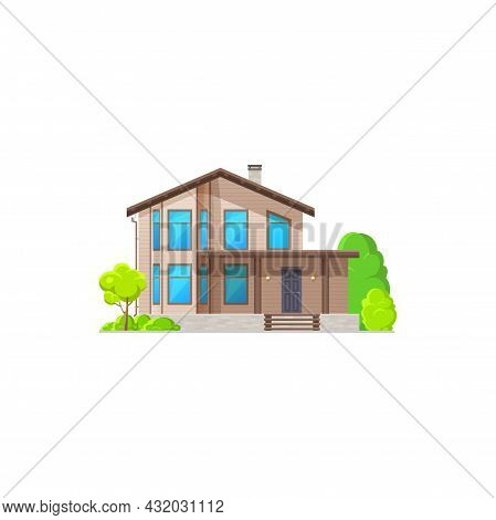 Modern House, Contemporary Building Country Style Architecture Isolated Flat Cartoon Icon. Vector Fa
