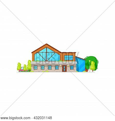Townhouse, Rural Loft Chalet With Parked Car In Garden Isolated Flat Cartoon Building. Vector Modern