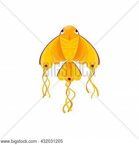 Kite In Shape Of Golden Fish Isolated Symbol Of Uttarayan International Festival. Vector Kite Makara