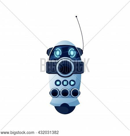 Robot Control Panel With Stop, Play, Record Button Isolated Realistic Icon. Vector Robotic Automatio