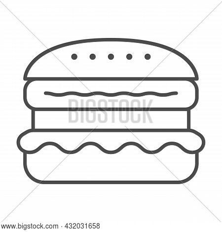 French Burger Thin Line Icon, Fast Food Concept, Cheeseburger Vector Sign On White Background, Outli