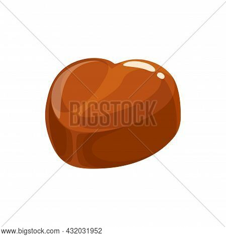 Chocolate Candy Cake, Sweet Dessert Food, Truffle Or Praline And Caramel, Vector Isolated Icon. Milk