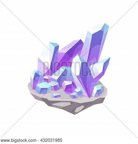 Crystal Gem Stone Quartz Or Jewel Gemstone And Mineral Rock, Vector Icon. Diamond Crystal Ice Or Gam
