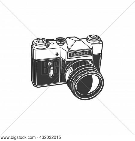 Analog Photocamera Isolated Photo Shooting Device Isolated Monochrome Icon. Vector Photographer Inst