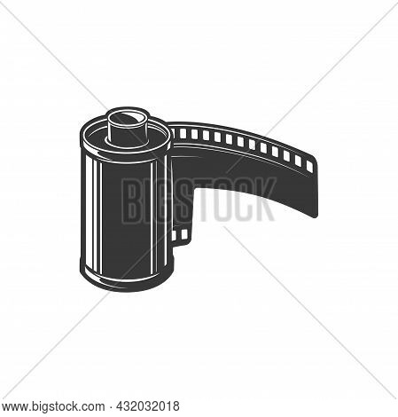 Film Strip Retro Video Camera Diapositive Isolated Monochrome Icon. Vector Retro Video Footage Sign,