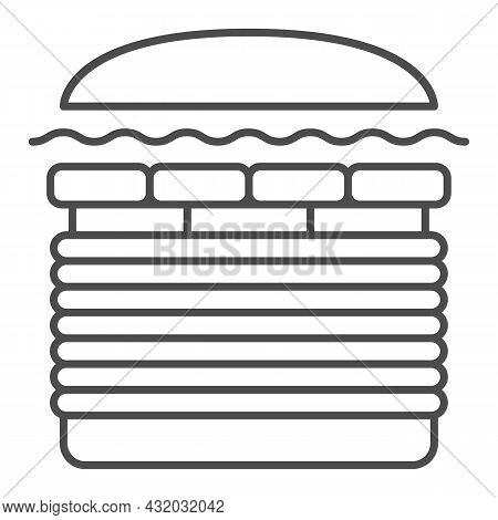 Burger Windows 7 Thin Line Icon, Fast Food Concept, Windows Seven Whooper Vector Sign On White Backg