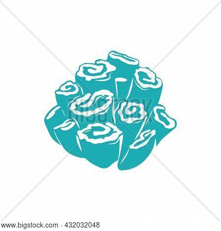 Hard Mushroom Coral Isolated Blue Button Zoanthids Icon. Vector Blue Aquarium Invertebrates Polyp, Z