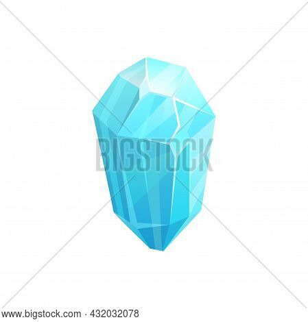 Crystal Ice, Gem Or Iceberg And Snow Block Of Frozen Water, Vector Blue Icon. Winter Icicle Or Glass