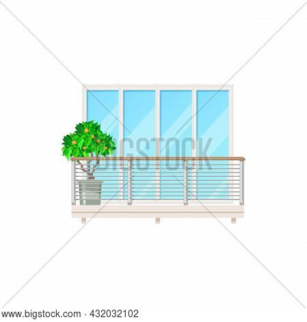 Balcony Window, House Building Facade With Fence Railing Or Banister, Vector Architecture. Modern Ap