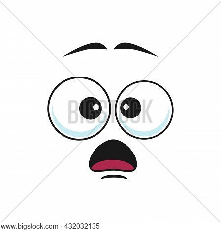 Terrified Or Frightened Emoticon Isolated Emoji With Shocked Facial Expression. Scared Or Surprised