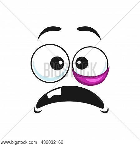 Black Eye Emoticon With One Tooth In Open Mouth Isolated Icon. Vector Emoji Showing Eye Swelling, Ma