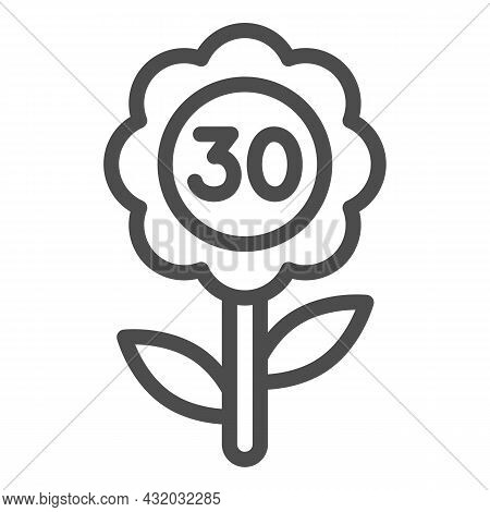 Flower With Number 30 Line Icon, Love And Relationship Concept, Flower With Thirty Vector Sign On Wh