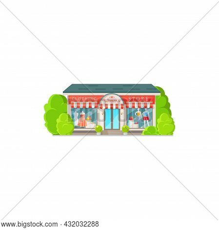 Shop Facade Exterior Women Clothing Store Isolated Building Flat Cartoon Design. Vector Boutique Or