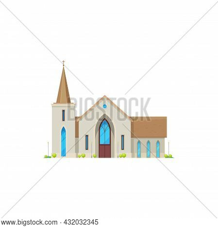 Church Or Chapel Of Cathedral, Christian Religion Building And Vector Architecture. Catholic Or Evan