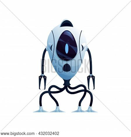 Robot With Flexible Legs And Arms With Grabs Isolated Standing Cyber Space Android. Vector Futuristi