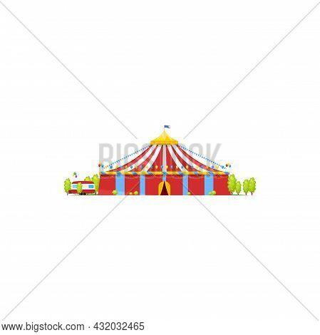 Striped Circus Tent Isolated Entertainment Building Exterior Design. Vector Facade Of Big Top Circus
