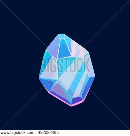 Blue Magic Crystal, Unfaceted Gem Vector Icon, Raw Jewel Rock Piece, Mineral Stone Or Glass. Isolate