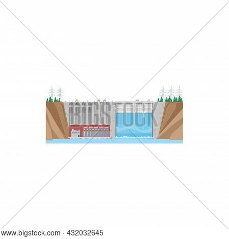 Hydroelectric Power Plant, Water Energy Station, Vector Hydro Dam. Electricity Generation, Hydro Pow