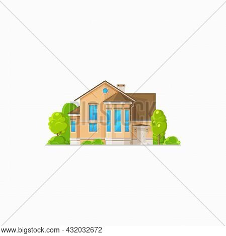 Country House, Urban Private Home With Chimney And Mansard Isolated. Vector Real Estate Building, Co