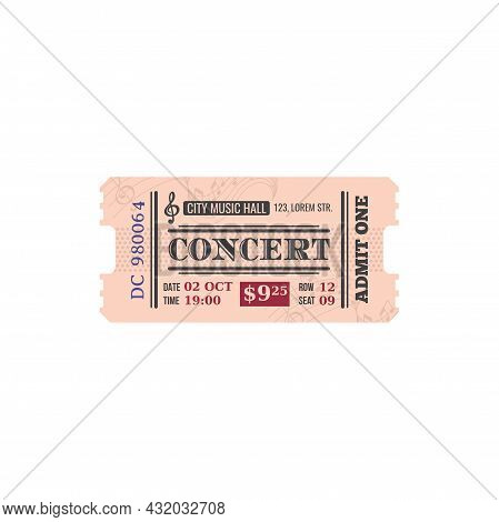 Full Ticket To City Musical Hall Isolated Retro Paper Card. Vector Invitation To Listen To Classical