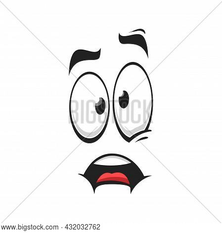 Cartoon Face Vector Icon, Surprised, Frightened Or Worry Emoji, Scared Facial Expression With Wide O