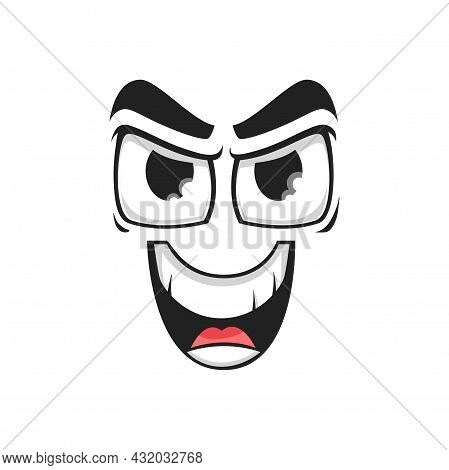 Cartoon Face Vector Gloat Laugh Emoji With Angry Eyes And Laughing Toothy Mouth. Malefactor Facial E