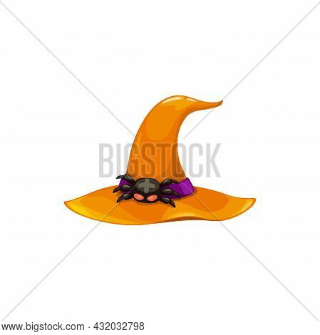 Cartoon Witch Hat Vector Icon, Orange Magician Headwear With Scary Spider With Cross On Back As Buck