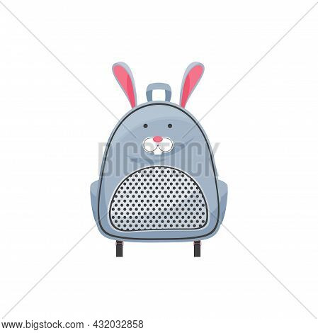 Kids Schoolbag Isolated Vector Icon, Cute Knapsack With Rabbit Muzzle And Ears. Cartoon Rucksack, Ba
