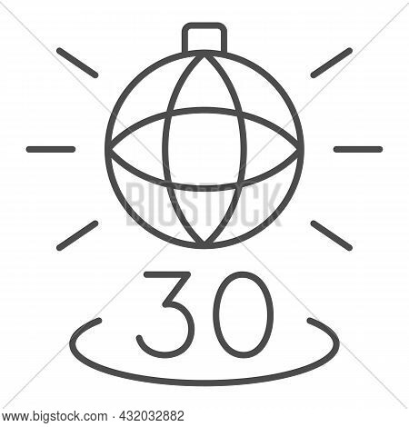 Disko Ball Shining And Number 30 Thin Line Icon, Anniversary Concept, Party Over Thirty Vector Sign