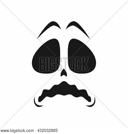 Frightened Ghost Face Vector Icon, Halloween Emoji, Scary Evil Creepy Emotion With Wide Open Eyes An