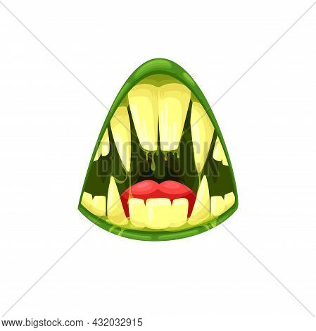 Monster Mouth Vector Icon, Creepy Alien Jaws With Sharp Teeth, Huge Fangs And Red Tongue And Green L