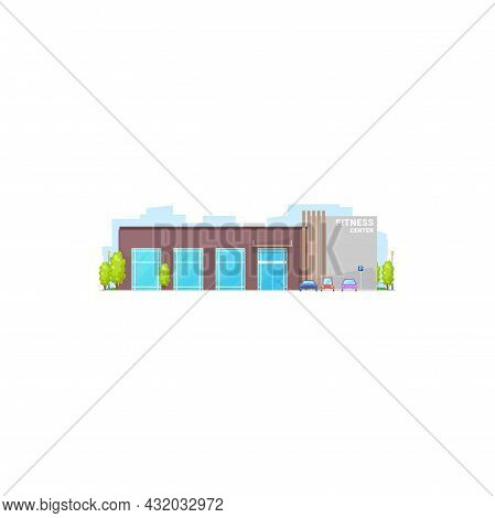 Sport Gym Isolated City Architecture Building Front View Facade. Vector Glass Workout Entertainment