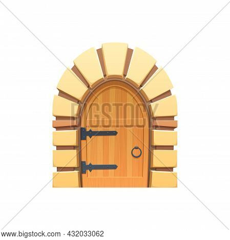 Cartoon Door Or Gates Vector Icon, Wooden And Stone Medieval Or Fairytale Arched Entry. Palace Or Ca