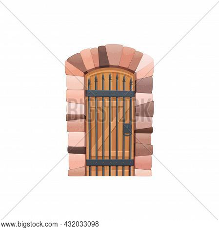 Retro Gate Of Wood, Entry With Forged Elements, Ui Games Object Isolated Cartoon Icon. Vector Fairyt