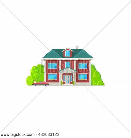 House Country Dwelling Outdoor Facade With Parked Retro Coupe Car Isolated. Vector Modern Villa, Tow