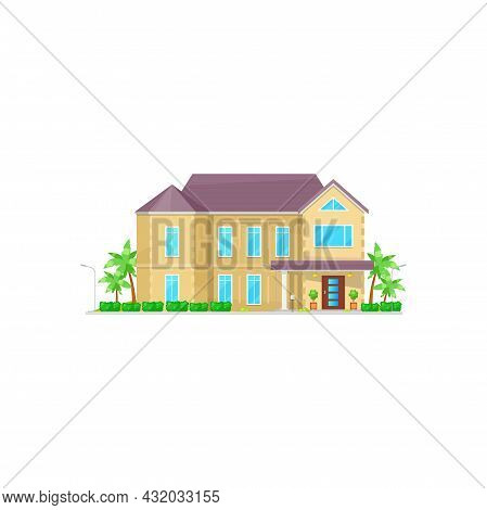 Country House, Urban Private Home Villa With Palm Trees, Roof And Windows Isolated Facade Exterior.